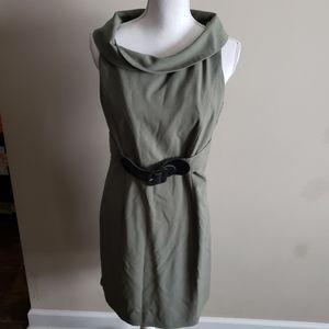 Sleeveless olive belted knee length dress, 10P